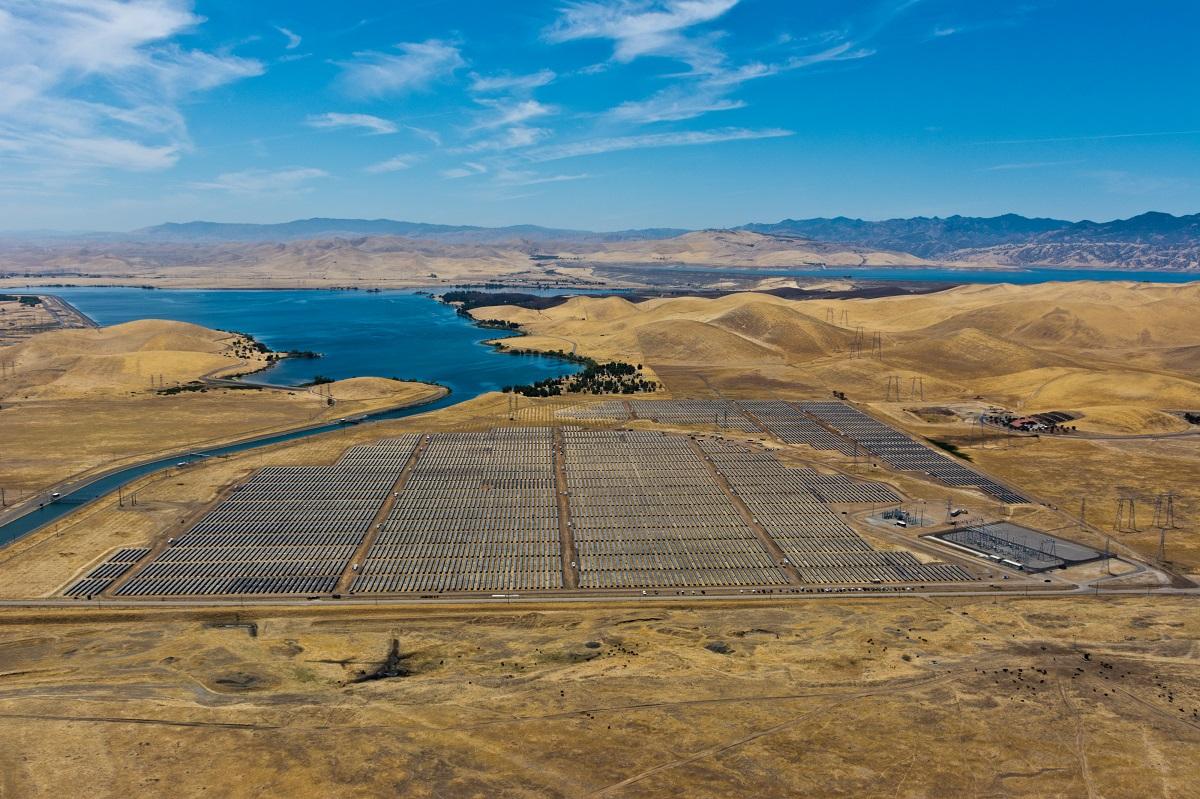 Aerial view of a utility-scale solar farm.