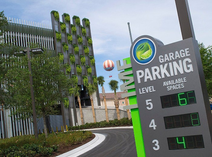 The Lime parking garage at Disney Springs in Disney World