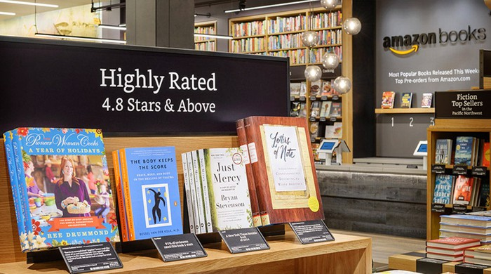 A display of highly rated books in an AmazonBooks store