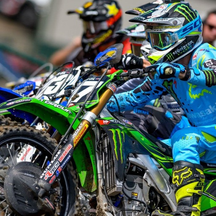 A Monster-sponsored motocross racer before an event