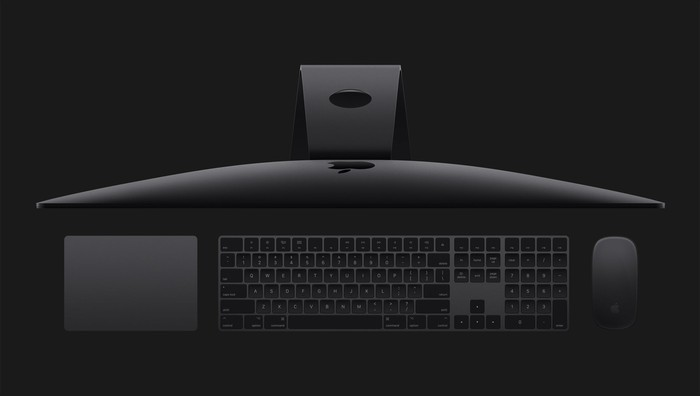 Top view of new iMac Pro with accessories