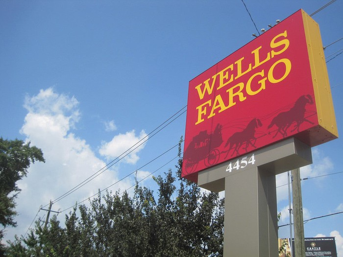 A Wells Fargo branch sign.