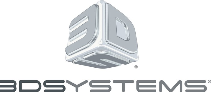 """3D Systems' logo: a metal cube with a """"3,"""" a """"D,"""" and an """"S"""" on the three sides that show with the company's name underneath."""