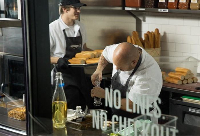 Chefs prepping food at the Amazon Go store
