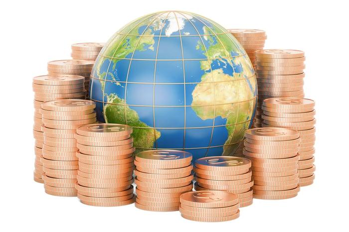 Gold coins surround a globe.