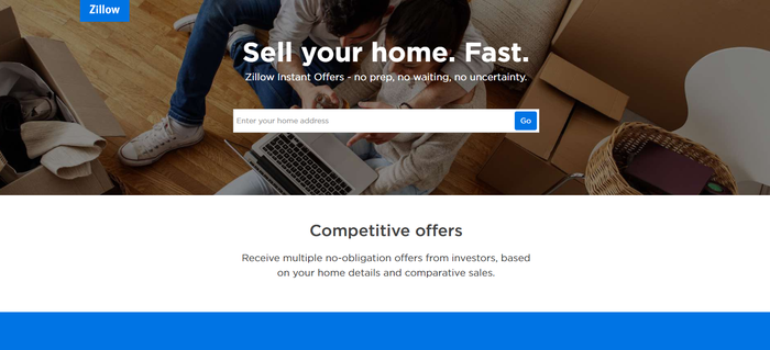 Zillow Instant Offers website.