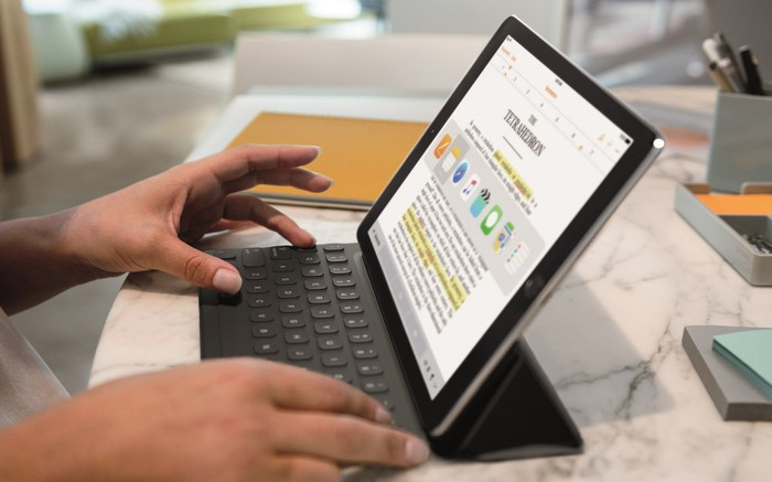 Apple's iPad being used with a keyboard.