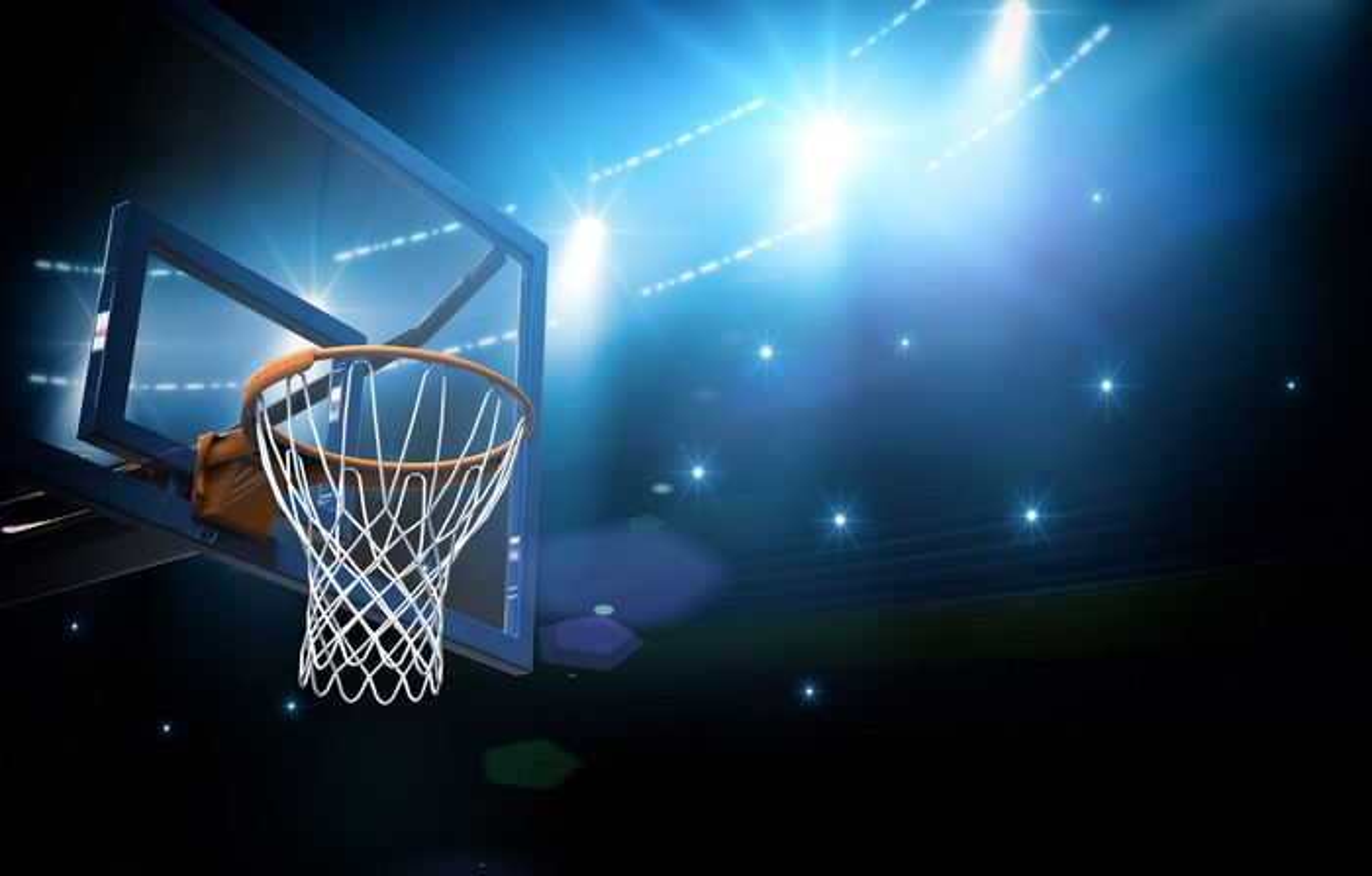 Basketball hoop in arena.