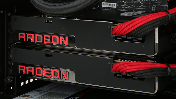 Two AMD Radeon graphics cards.