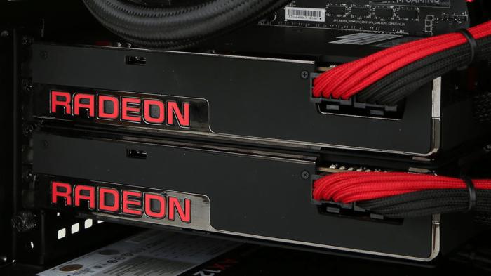 Two AMD Radeon graphics cards.