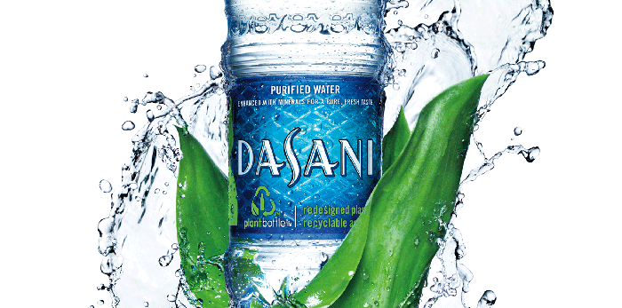 "A bottle of Dasani water, with the ""purified"" disclosure at the top of the label."