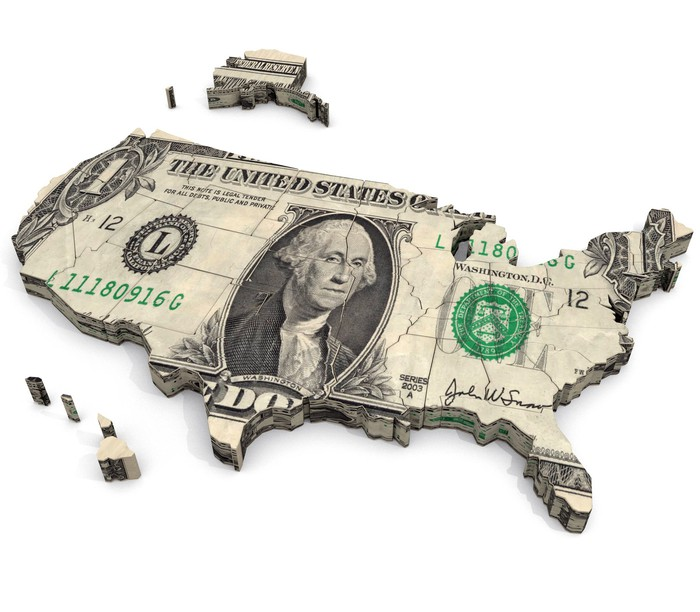 Map of U.S. made out of a dollar bill