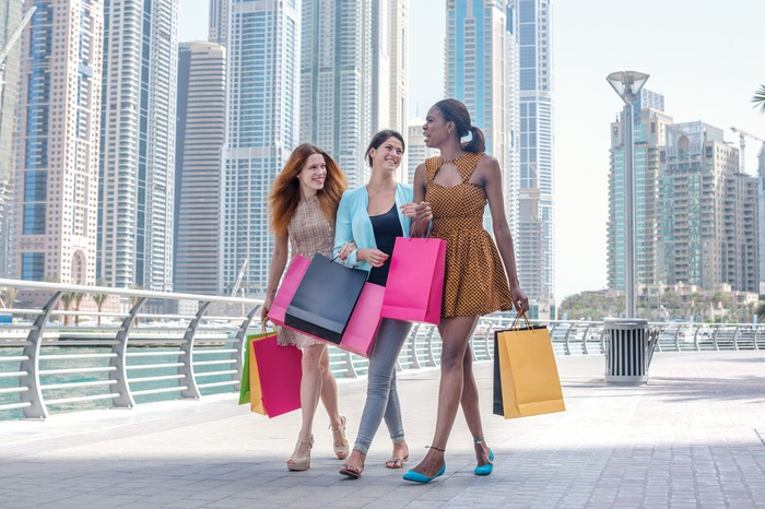 Three girls shopping together.