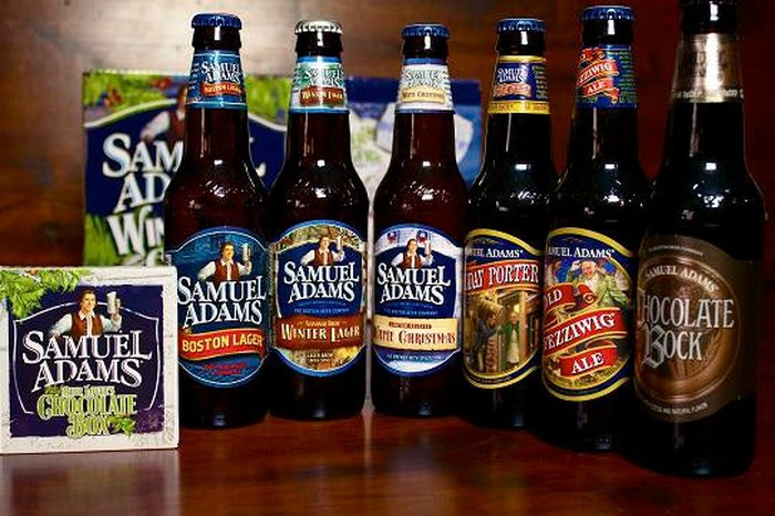 A picture of six bottles of Sam Adams beer.