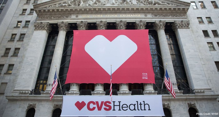 A CVSHealth banner showing a heart hangs from a building