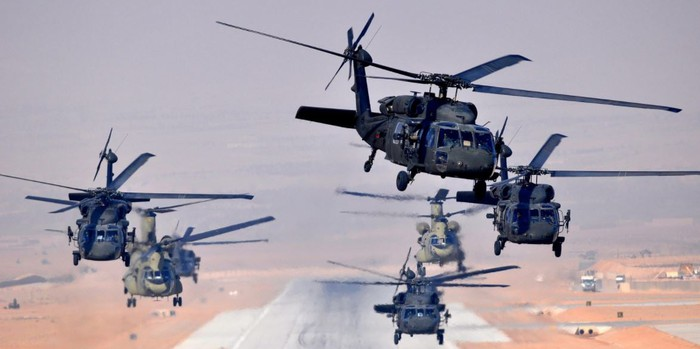 Six UH-60L Black Hawks and two CH-47F Chinooks.