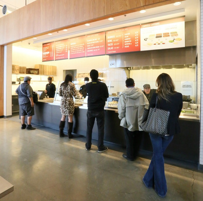 A line at a Chipotle store