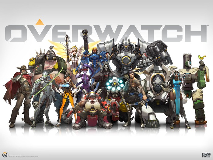 """Overwatch"" artwork depicting all characters standing together with ""Overwatch"" title in grey in the background."