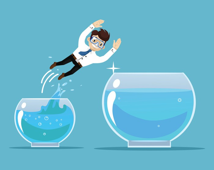 A cartoon man jumping from a small fish bowl to a larger one.