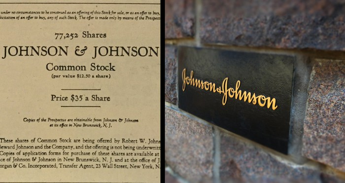 J&J common stock and company sign