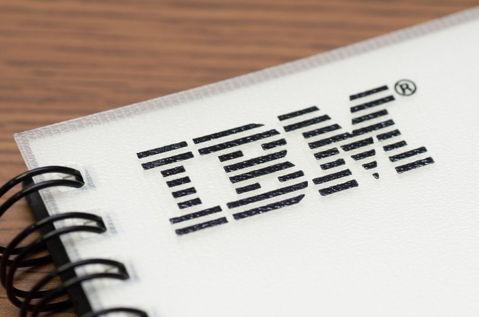 The IBM logo appears in the top left corner of a spiral notebook.