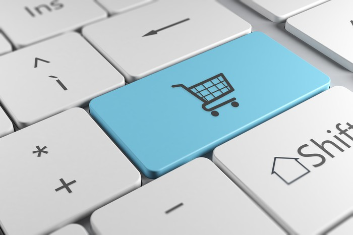 A keyboard with a shopping cart icon suggests internet retail sales.