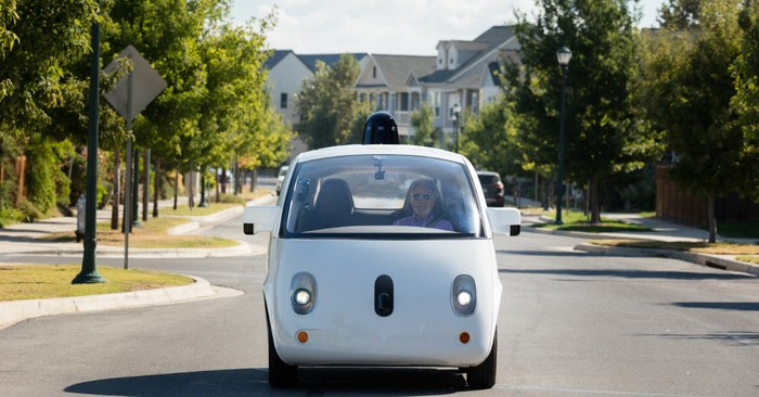A Google self-driving vehicle in a suburban area.