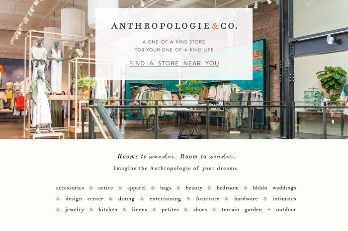 An advertisment for a new, larger-footprint Anthropologie store.