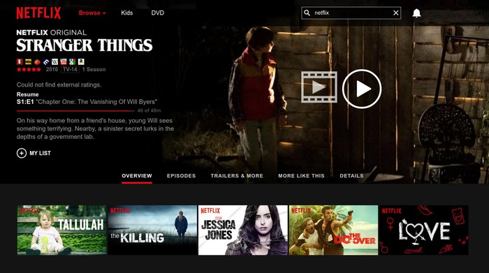 Netflix service snapshot featuring Stranger Things and other Netflix Originals.