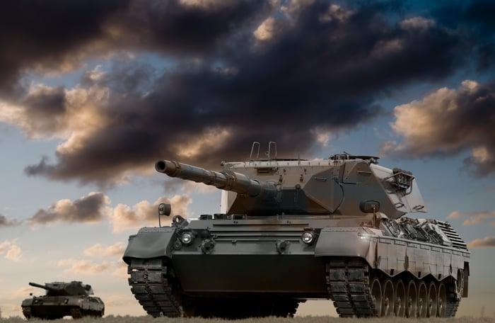 Tanks under clouds