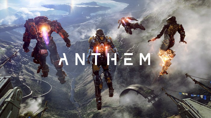 "Four flying characters from EA's game ""Anthem""."