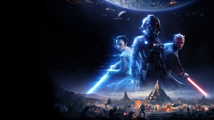 """Rey, Kylo Ren, and Darth Maul from EA's upcoming """"Star Wars: Battlefront II"""""""
