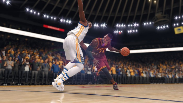 LeBron James driving on a Golden State Warriors player in NBA Live 18.