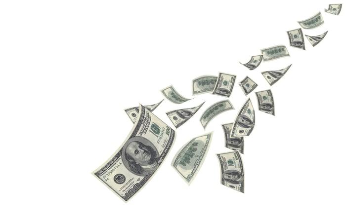 $100 bills streaming down.