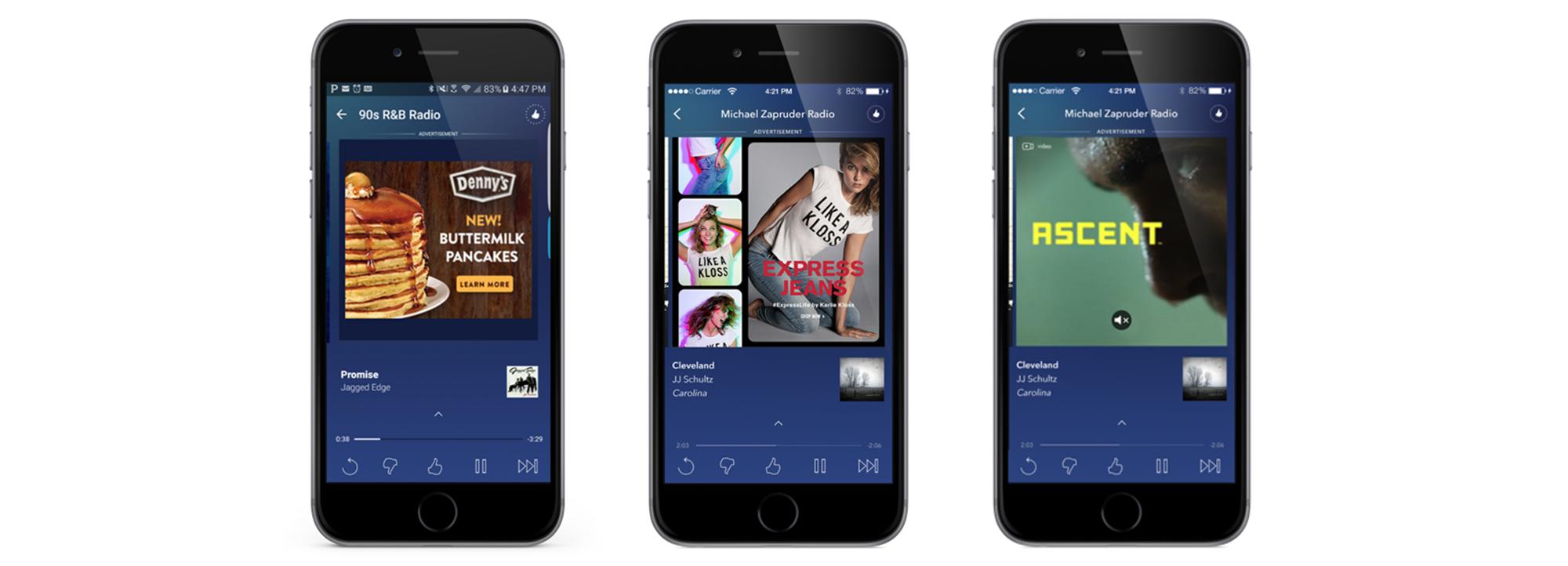 Ads on Pandora mobile phone app.