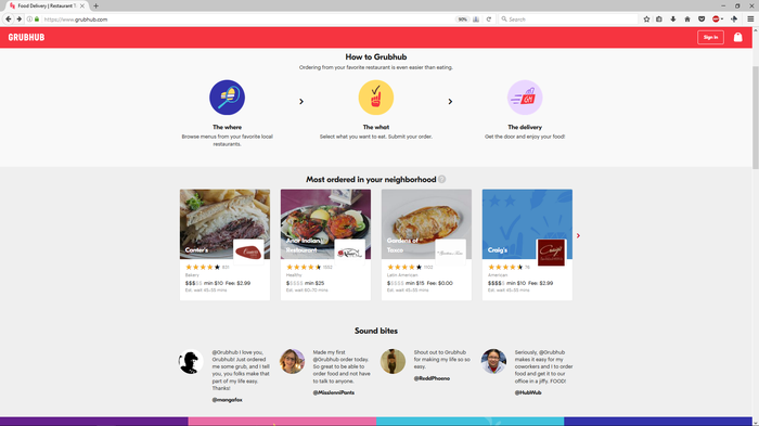 A page from the Grubhub website.