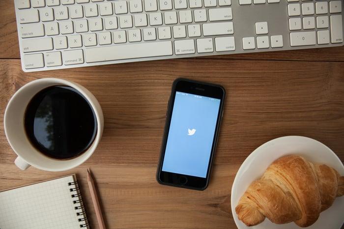 A smartphone running the Twitter app.