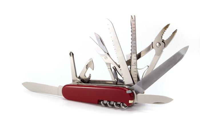 Swiss Army knife, displaying its many functions.