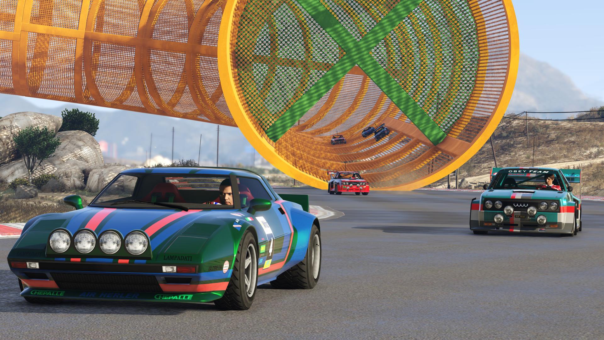 Cars racing in GTA Online: Cunning Stunts.