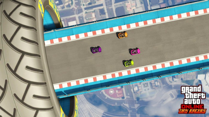 """Cars racing in """"Grand Theft Auto: Tiny Racers"""""""