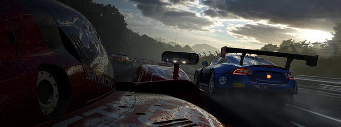 """Cars race in Microsoft's game """"Forza 7""""."""