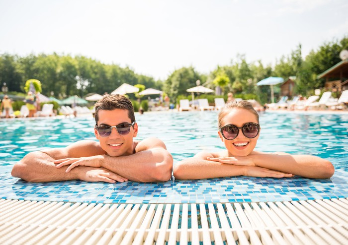 Couple relaxing in a pool