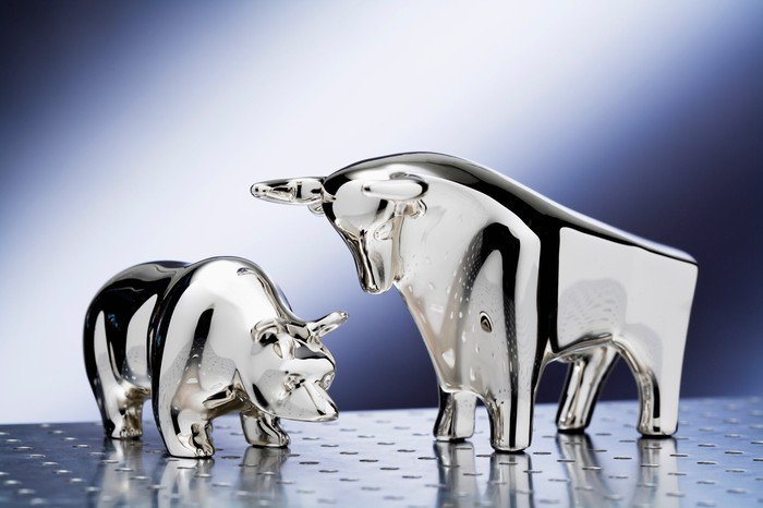 Metal bear and bull figurines