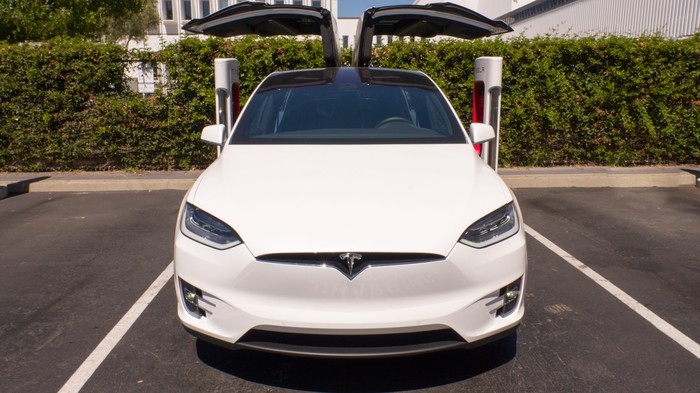 Tesla Model X with falcon wing doors