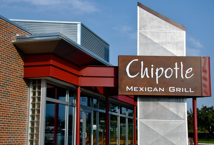 A Chipotle Mexican Grill sign outside a brick building.