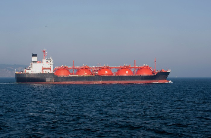 An LPG carrier at sea.