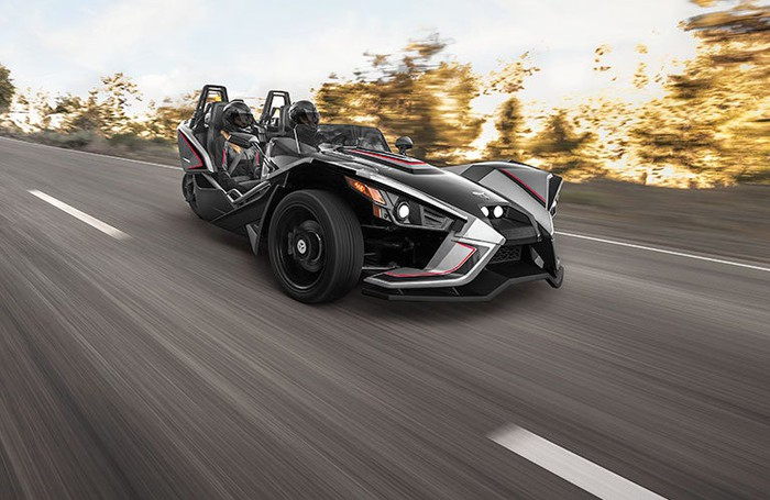 Black Slingshot three-wheeled motorcycle