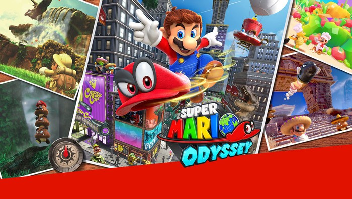 "A collage of screens from ""Super Mario Odyssey."""