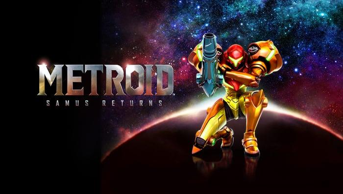 "Samus Aran and the ""Metroid: Samus Returns"" logo."
