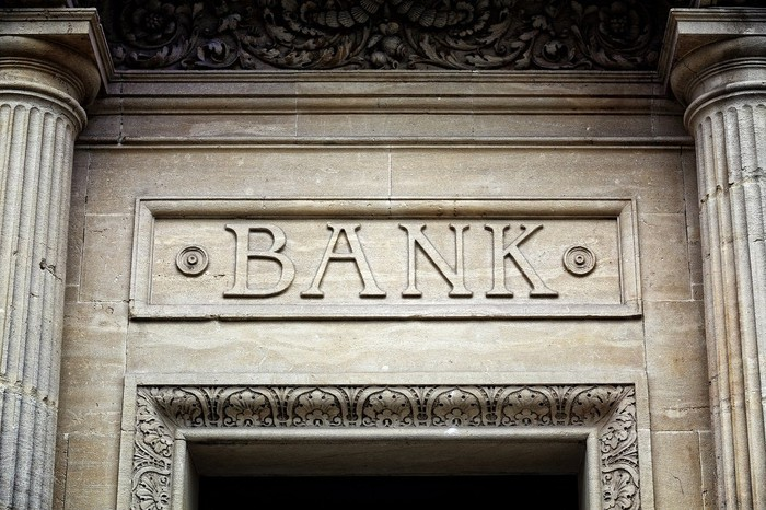 """photo of word """"bank"""" in marble"""